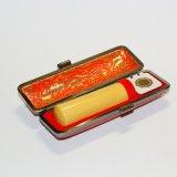 金冠木・柘 18.0ミリ丸(手彫り・牛革ケース)
